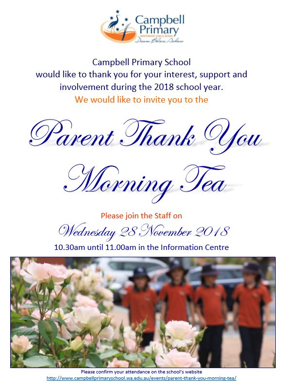 Campbell Primary School Parent Thank You Morning Tea