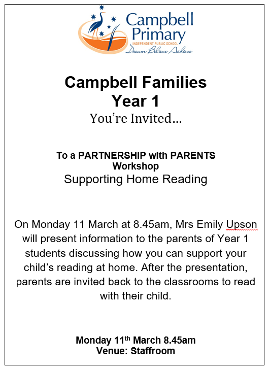 Year 1 Partnerships With Parents Home Reading