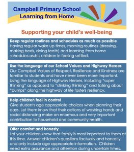 Learning at Home Establishing Routines