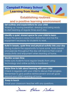 Establishing Daily Routines Learning at Home