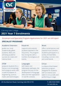 CVC Yr 7 2021 Enrolments Specialist Flyer
